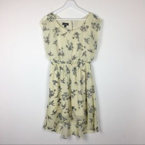 A. Buyer Sheer High/Low Bird and Floral Dress M